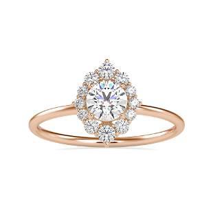 0.65CT Natural Diamond 14K Rose Gold Ring