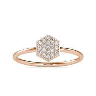 0.12CT Natural Diamond 14K Rose Gold Ring