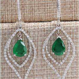 6.98CTW Natural Emerald And Diamond Earrings 14K Solid