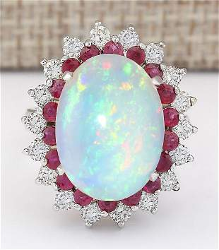 8.33 CTW Natural Opal, Ruby And Diamond Ring In14k