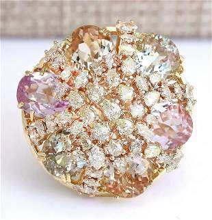 26.40 CTW Natural Multi-stone And Diamond Ring In 18K