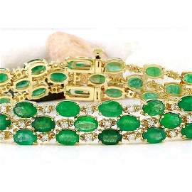 25.25 CTW Natural Emerald 14K Solid Yellow Gold Diamond