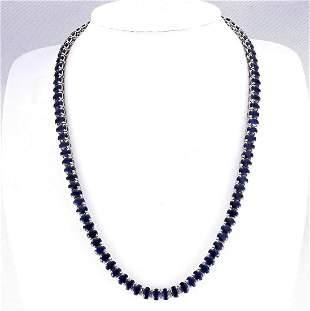 62.00 CTW Natural Blue Sapphire Necklace In 18K White