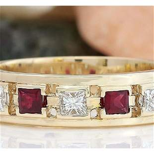 1.30 CTW Natural Ruby 14K Solid Yellow Gold Diamond