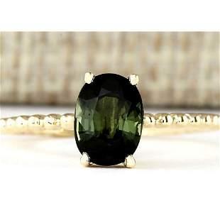 1.62 CTW Natural Green Tourmaline Ring In 14k Yellow