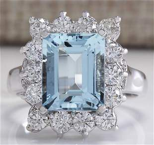 4.39 CTW Natural Aquamarine And Diamond Ring In 14K