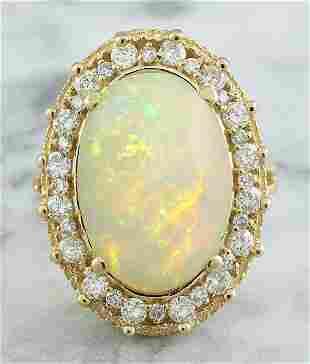 7.00 CTW Opal 14K Yellow Gold Diamond Ring