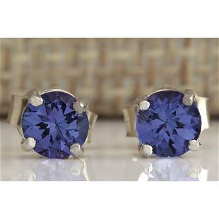 1.00 CTW Natural Tanzanite Earrings In 14K Solid White