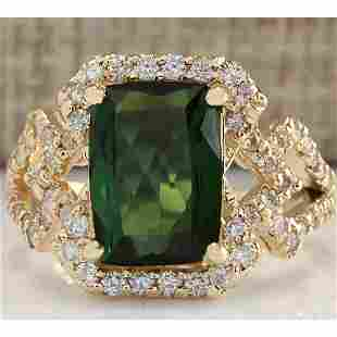 3.84CTW Natural Green Tourmaline And Diamond Ring In18K