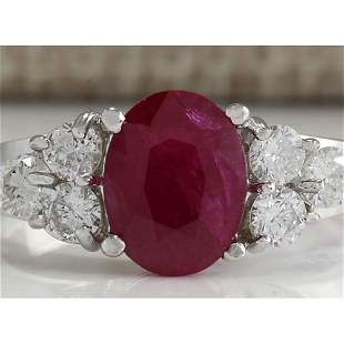 2.90 CTW Natural Red Ruby And Diamond Ring 18K Solid