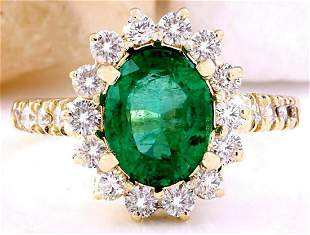 3.03 CTW Natural Emerald 14K Solid Yellow Gold Diamond
