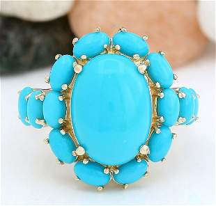 9.02 CTW Natural Turquoise 14K Solid Yellow Gold Ring