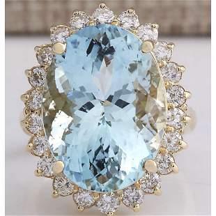 15.08 CTW Natural Aquamarine And Diamond Ring In 18K