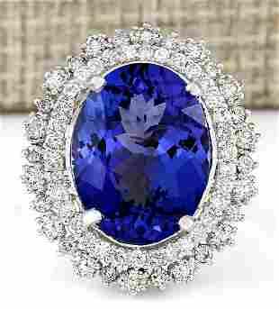13.75 CTW Natural Blue Tanzanite And Diamond Ring 18K