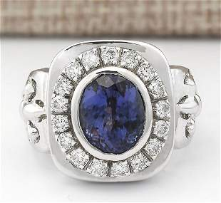 6.81 CTW Natural Mens Blue Tanzanite And Diamond Ring
