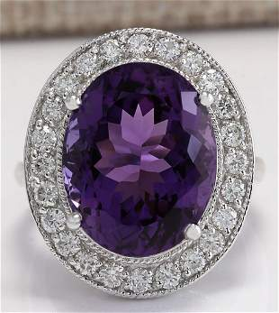 10.60 CTW Natural Amethyst And Diamond Ring In 18K