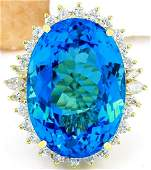 39.25 CTW Natural Topaz 14K Solid Yellow Gold Diamond