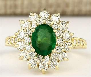 2.66 CTW Natural Emerald And Diamond Ring In 18K Yellow