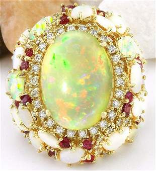 17.17 CTW Natural Opal, Ruby 14K Solid Yellow Gold