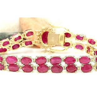 32.15 CTW Natural Ruby 14K Solid Yellow Gold Diamond