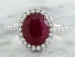3.44 CTW Ruby 14K White Gold Diamond Ring