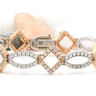 4.75 CTW Natural Diamond 18K Solid Two Tone Gold