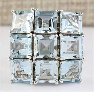 20.00 CTW Natural Aquamarine Ring In 18K White Gold