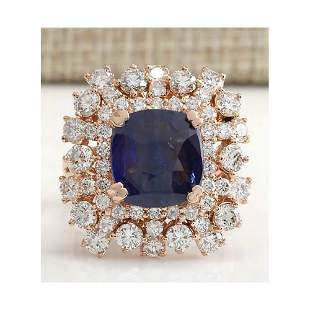 7.46 CTW Natural Blue Sapphire Diamond Ring 18K Solid