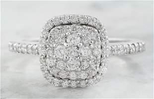 0.80 CTW Diamond 18K White Gold Ring
