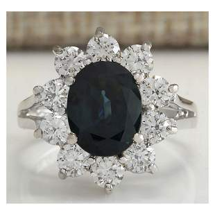 3.41 CTW Natural Blue Sapphire Diamond Ring 14K Solid