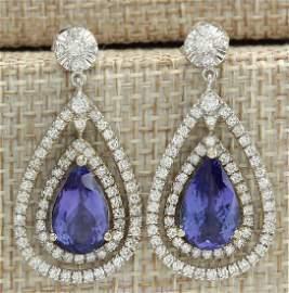 7.82 CTW Natural Tanzanite And Diamond Earrings 18K