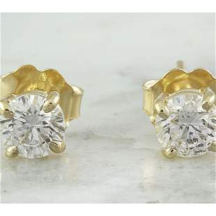 0.80 CTW Diamond 18K Yellow Gold Solitaire Stud