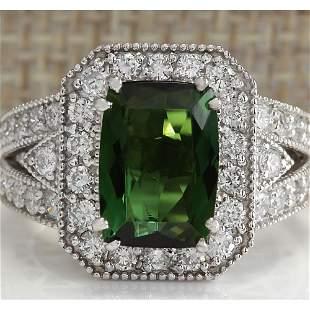 4.72 CTW Natural Green Tourmaline And Diamond Ring 14K