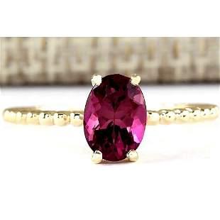 1.31 CTW Natural Pink Tourmaline Ring In 14k Yellow