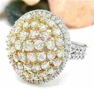 4.28 CTW Natural Diamond 18K Solid Two Tone Gold Ring