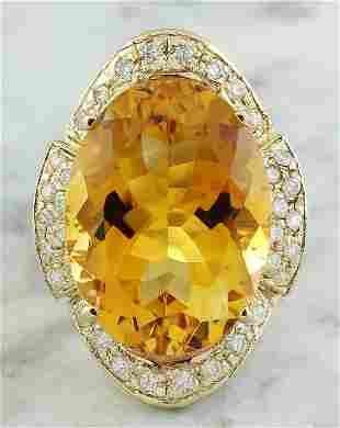 17.06 CTW Citrine 14K yellow Gold Diamond Ring