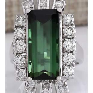 11.67 CTW Natural Green Tourmaline And Diamond Ring 14K