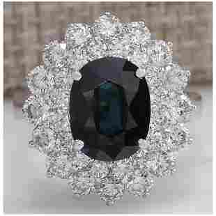 4.97 CTW Natural Blue Sapphire Diamond Ring 14K Solid