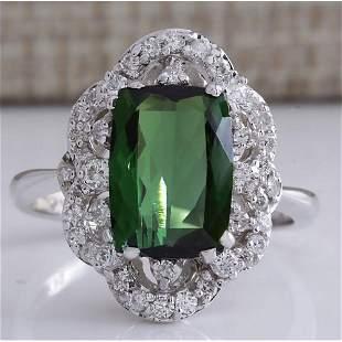 3.51 CTW Natural Green Tourmaline And Diamond Ring 14K