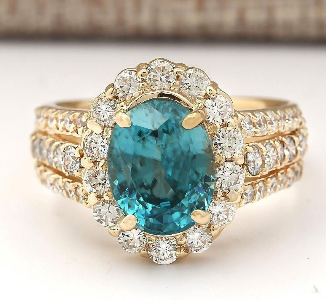 5.89 CTW Natural Blue Zircon And Diamond Ring 14k Solid