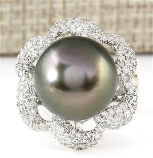 1.30 CTW Natural 14.22mm Black Pearl Diamond Ring 18K