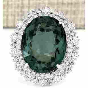 19.90 CTW Natural Green Tourmaline And Diamond Ring 14k