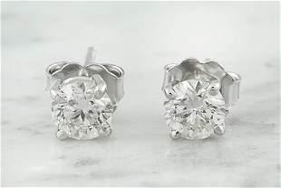 0.80 CTW Diamond 18K White Gold Solitaire Stud Earrings