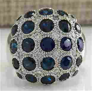 4.86 CTW Natural Blue Sapphire Diamond Ring 18K Solid