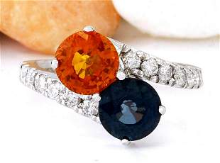 3.78 CTW Natural Sapphire 18K Solid White Gold Diamond