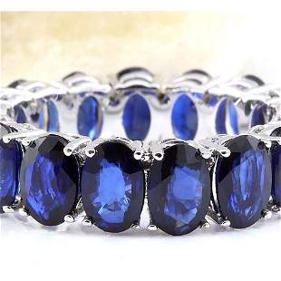 11.20 CTW Natural Sapphire 18K Solid White Gold Ring