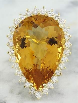 18.85 CTW Citrine 14K Yellow Gold Diamond Ring