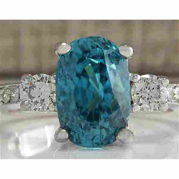 7.65 CTW Natural Blue Zircon And Diamond Ring 14k Solid