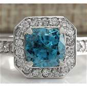5.85 CTW Natural Blue Zircon And Diamond Ring 18K Solid