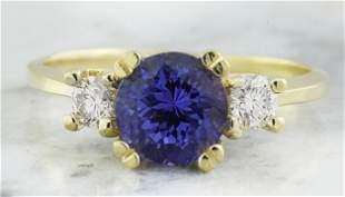 1.93 CTW Tanzanite 18K Yellow Gold Diamond Ring